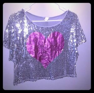Sequin heart silver boxy top